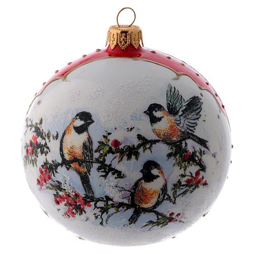 Pallina Natale vetro bianco ornamento Uccelli su rami di Agrifoglio  100 mm 3