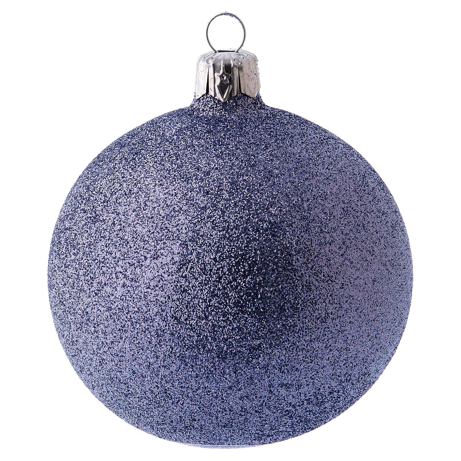 Bolitas de Navidad 6 piezas fucsia con purpurina 80 mm vidrio soplado 4
