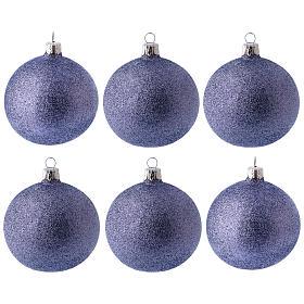 Bolitas de Navidad 6 piezas fucsia con purpurina 80 mm vidrio soplado s1