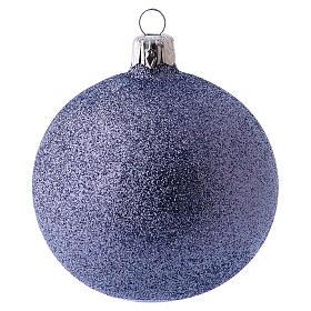 Bolitas de Navidad 6 piezas fucsia con purpurina 80 mm vidrio soplado s2