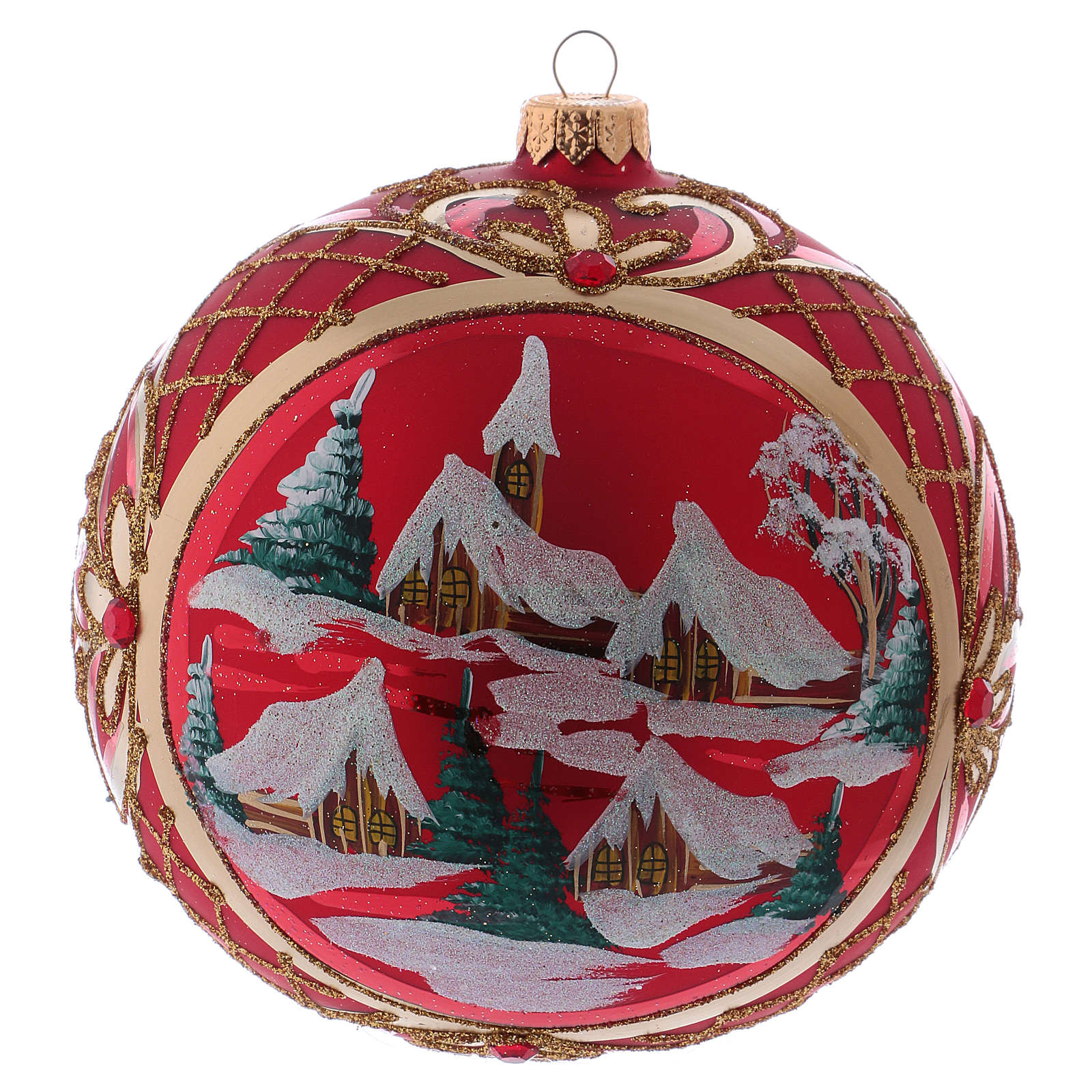 Christmas ball 150 mm in blown glass with winter landscape on red background 4