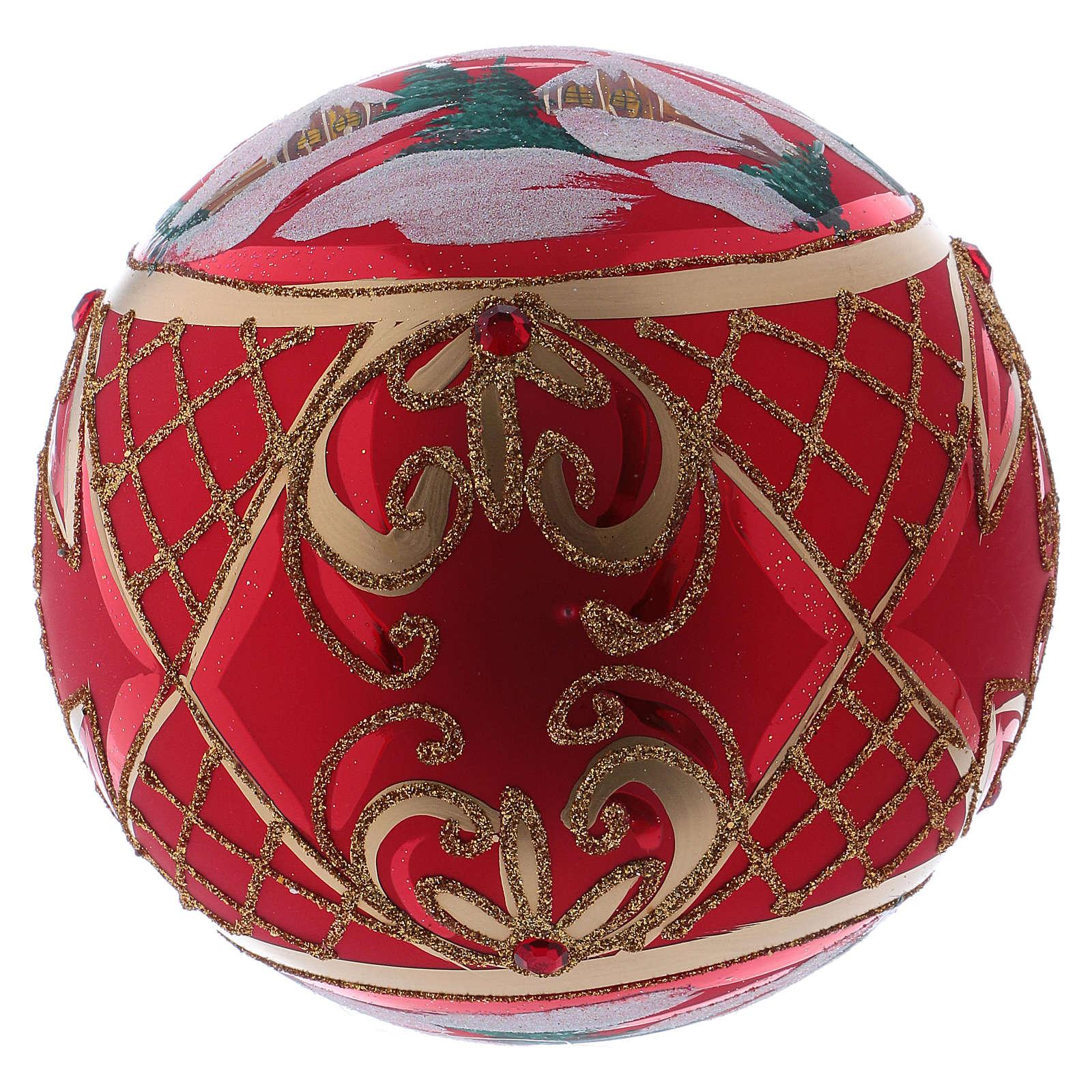 Palla di Natale 150 mm paesaggio invernale sfondo rosso vetro soffiato 4