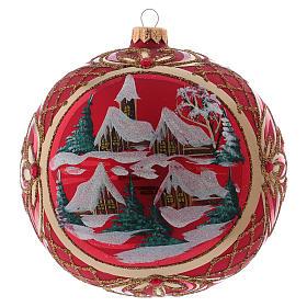 Palla di Natale 150 mm paesaggio invernale sfondo rosso vetro soffiato s1