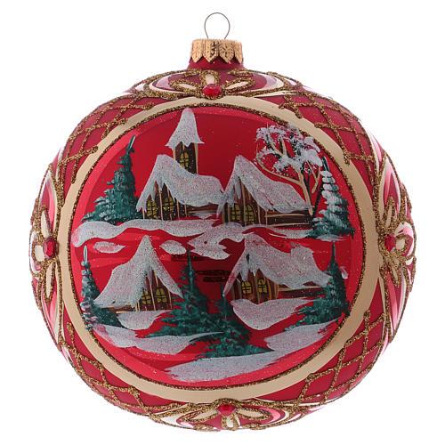 Palla di Natale 150 mm paesaggio invernale sfondo rosso vetro soffiato 1