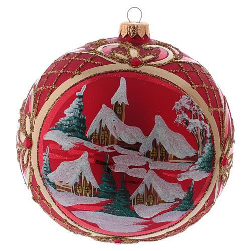 Palla di Natale 150 mm paesaggio invernale sfondo rosso vetro soffiato 3