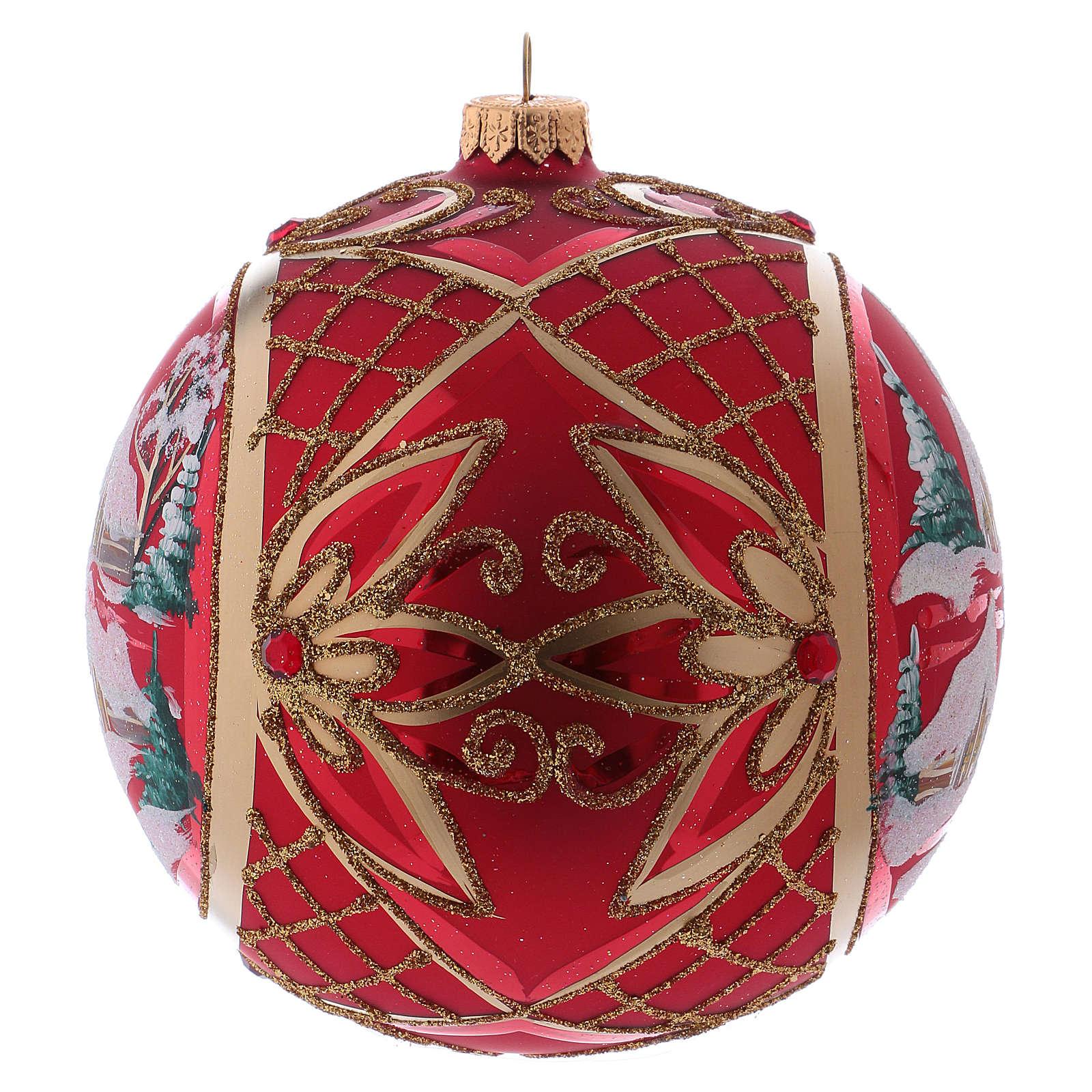 Bola de Natal 150 mm paisagem de inverno fundo vermelho vidro soprado 4
