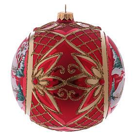 Bola de Natal 150 mm paisagem de inverno fundo vermelho vidro soprado s2