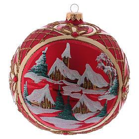 Bola de Natal 150 mm paisagem de inverno fundo vermelho vidro soprado s3