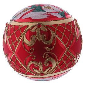 Bola de Natal 150 mm paisagem de inverno fundo vermelho vidro soprado s4
