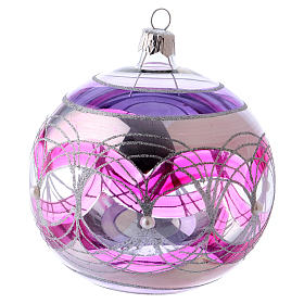 Tannenbaumkugeln: Weihnachtskugel aus transparentem Glas mit pinken und silbernen Verzierungen 100 mm