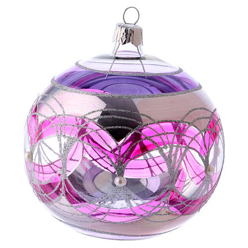 Christmas ball 100 mm in transparent fuchsia glass with silver decoration 1