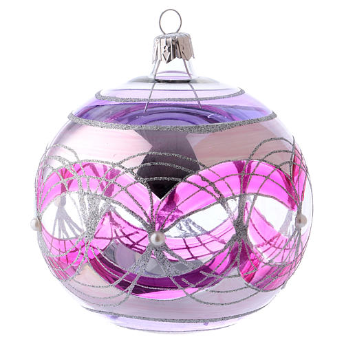 Christmas ball 100 mm in transparent fuchsia glass with silver decoration 2
