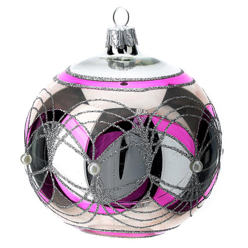 Christmas ball 100 mm in transparent fuchsia glass with silver decoration 3