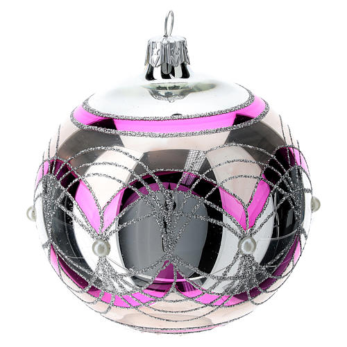 Christmas ball 100 mm in transparent fuchsia glass with silver decoration 4