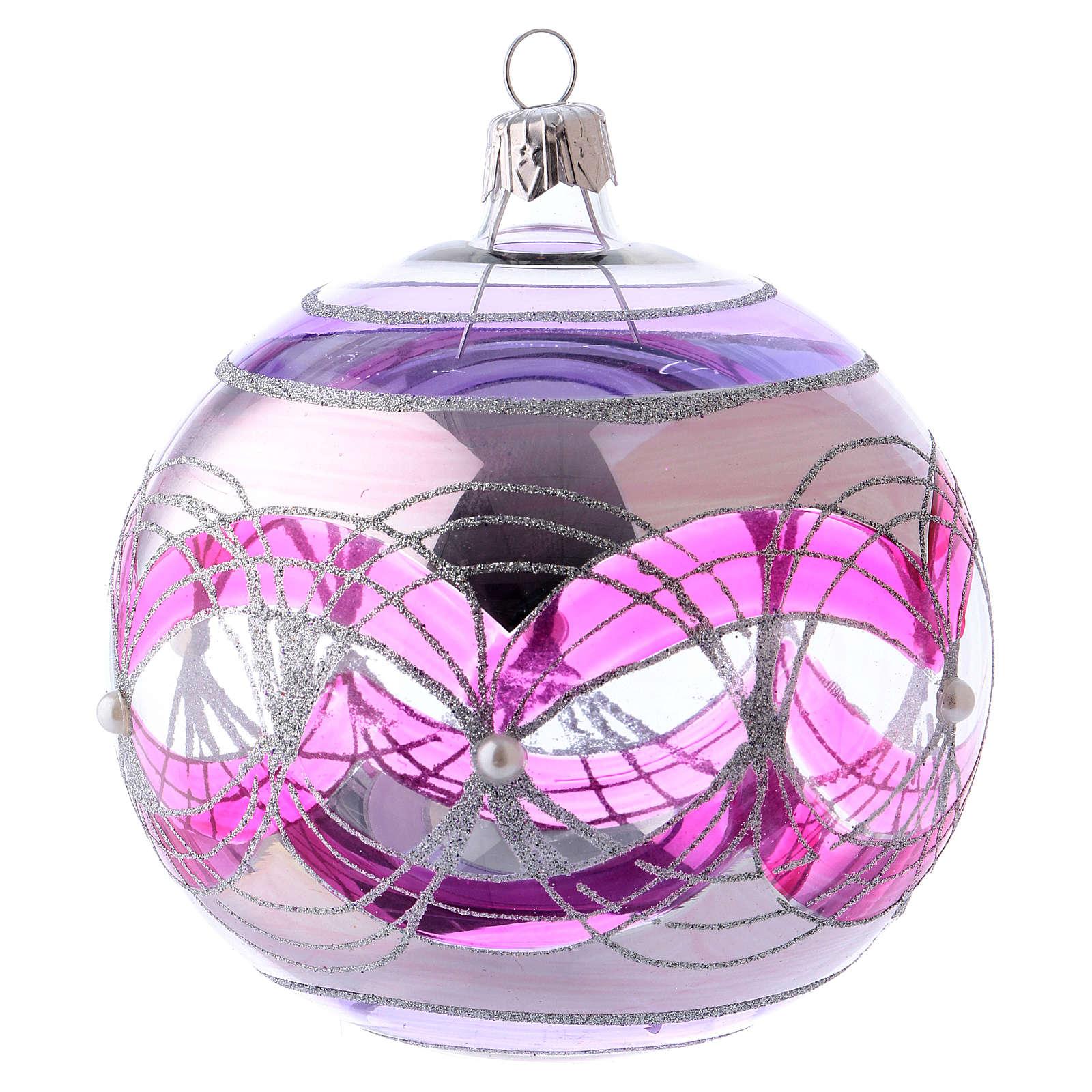 Bola árbol Navidad 100 mm transparente fucsia motivos plateados vidrio soplado 4