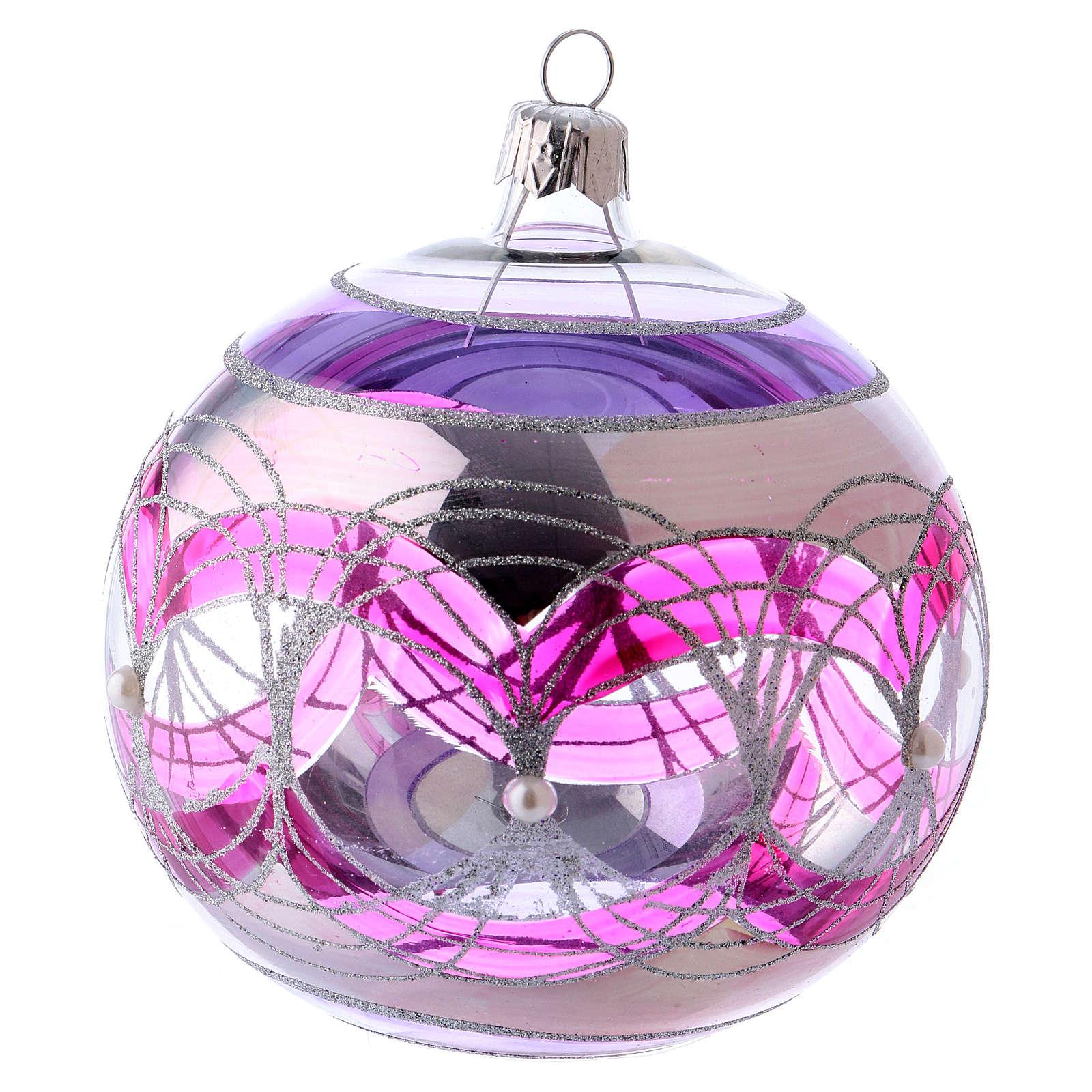 Palla albero Natale 100 mm trasparente fucsia decori argentati vetro soffiato 4