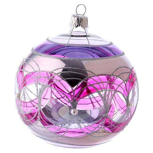 Palla albero Natale 100 mm trasparente fucsia decori argentati vetro soffiato 1