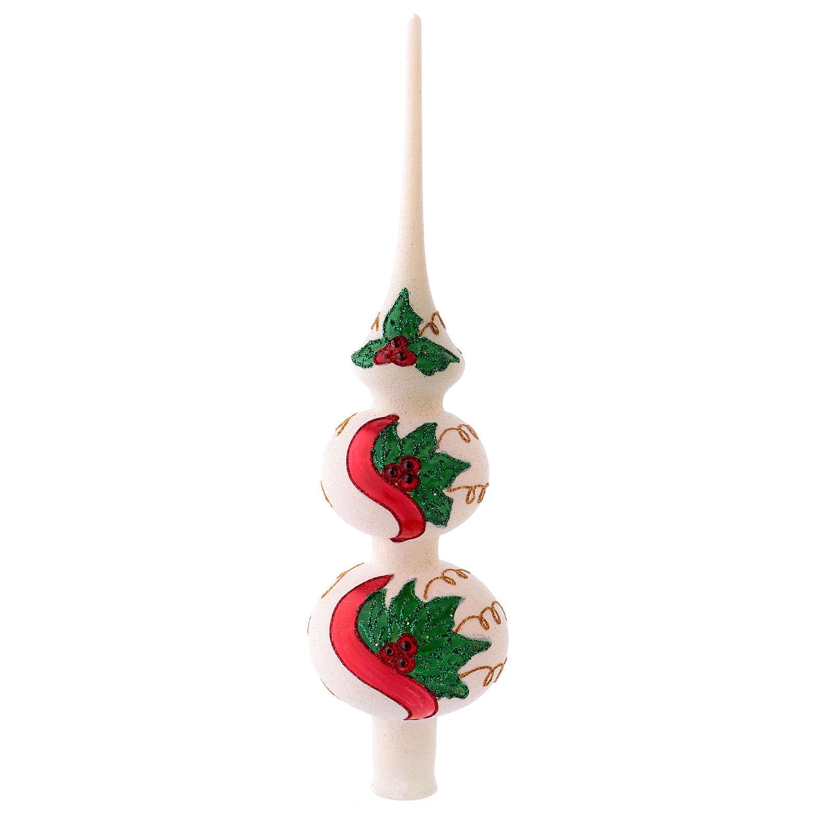 Punta vidrio soplado árbol Navidad blanco muérdago 36 cm 4