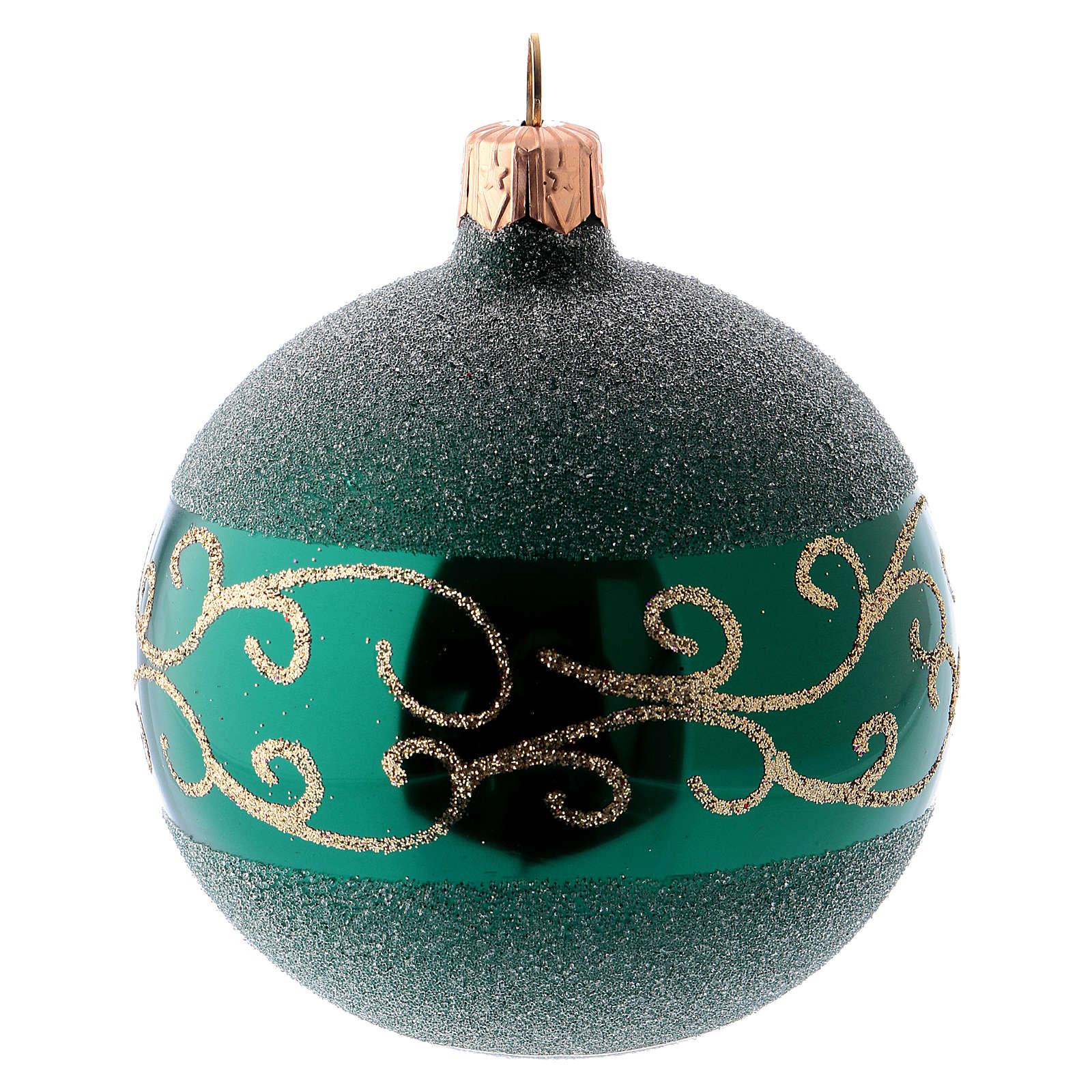 Bolitas árbol Navidad 6 piezas vidrio soplado verde motivos dorados 80 mm 4