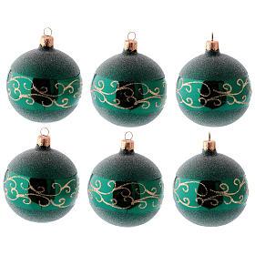 Bolitas árbol Navidad 6 piezas vidrio soplado verde motivos dorados 80 mm s1