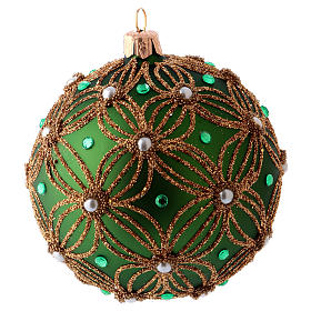 Christmas ball 80 mm in green blown glass with white and green beads s2