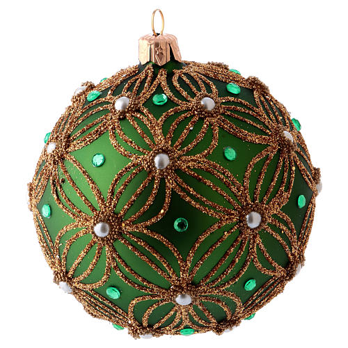 Christmas ball 80 mm in green blown glass with white and green beads 2