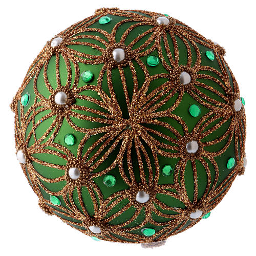 Christmas ball 80 mm in green blown glass with white and green beads 3