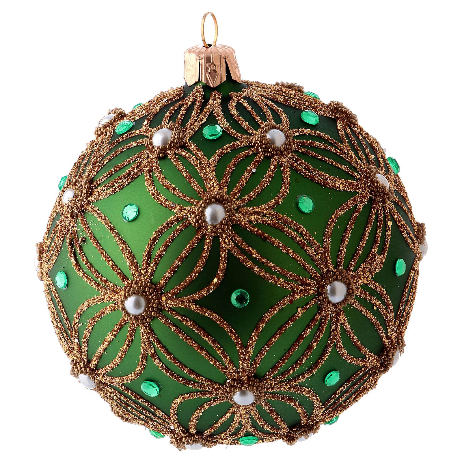 Palla albero Natale 80 mm vetro soffiato verde decori perline bianche verdi 4