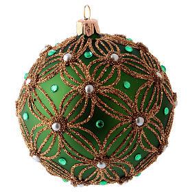 Palla albero Natale 80 mm vetro soffiato verde decori perline bianche verdi s2
