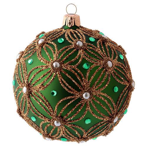 Palla albero Natale 80 mm vetro soffiato verde decori perline bianche verdi 1