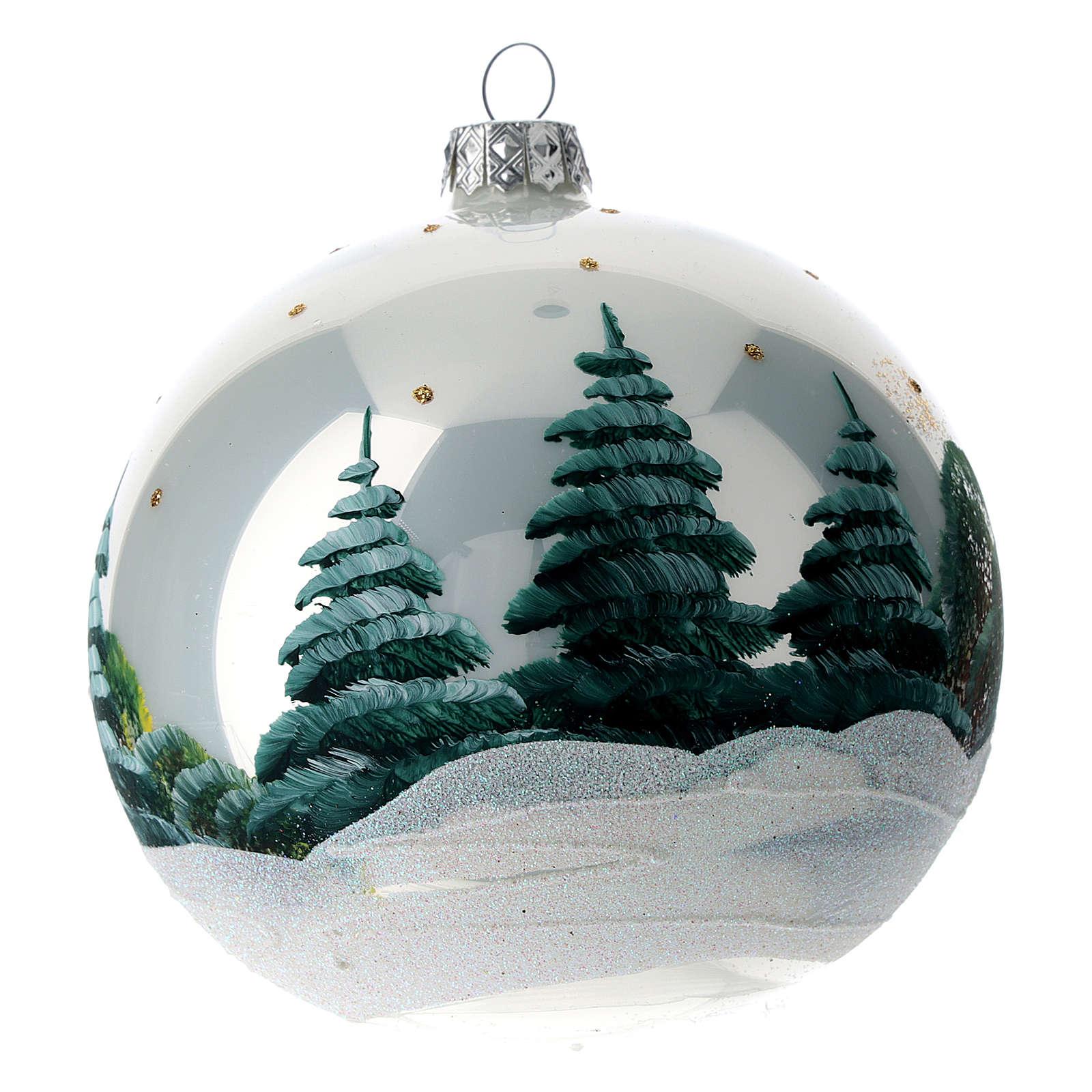 Weihnachtsbaumkugel aus mundgeblasenem Glas Motiv winterliches Alpendorf 120 mm 4