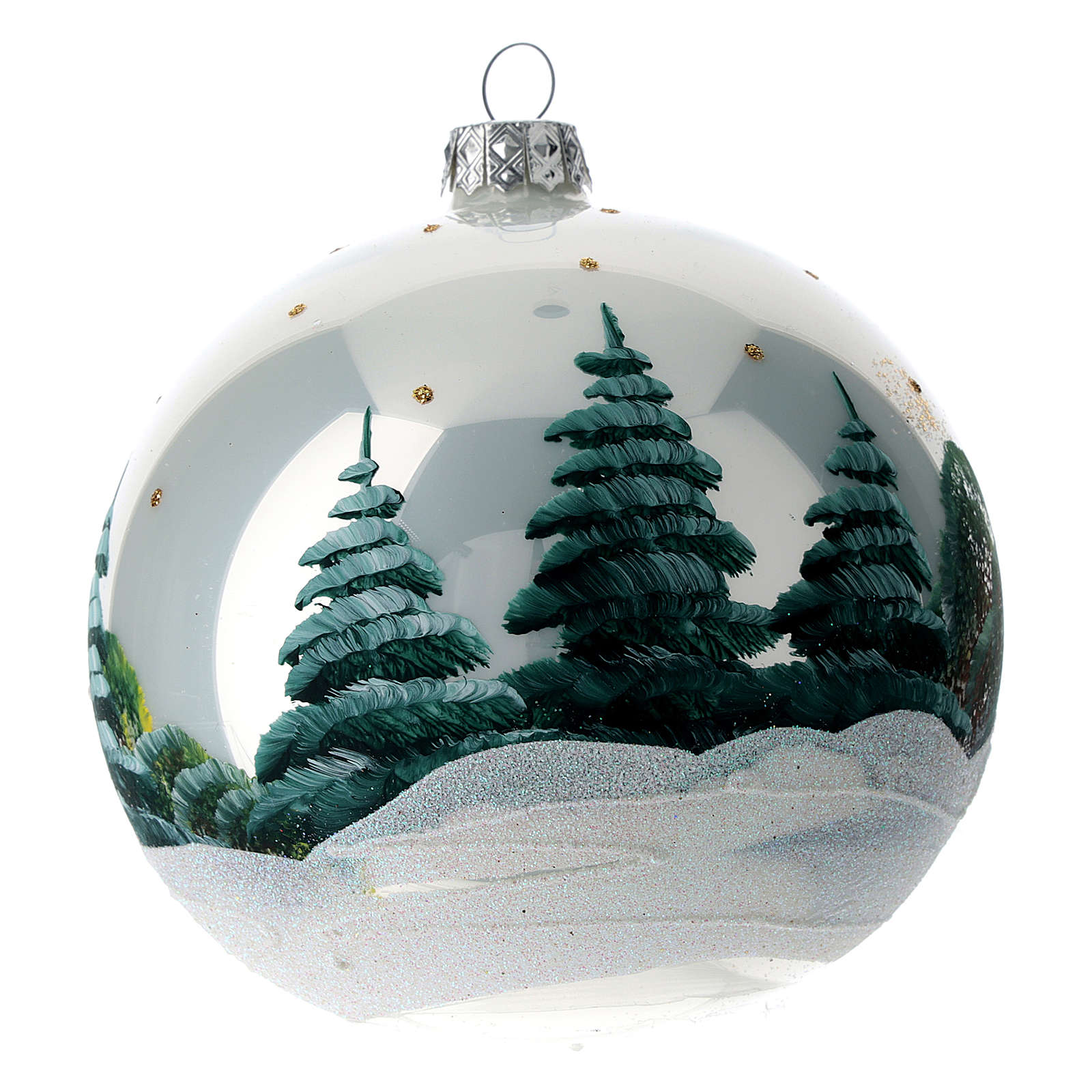 Christmas ball 120 mm in blown glass with snowy Alpine village 4