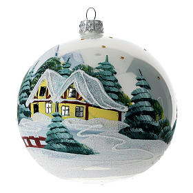 Christmas ball 120 mm in blown glass with snowy Alpine village s2