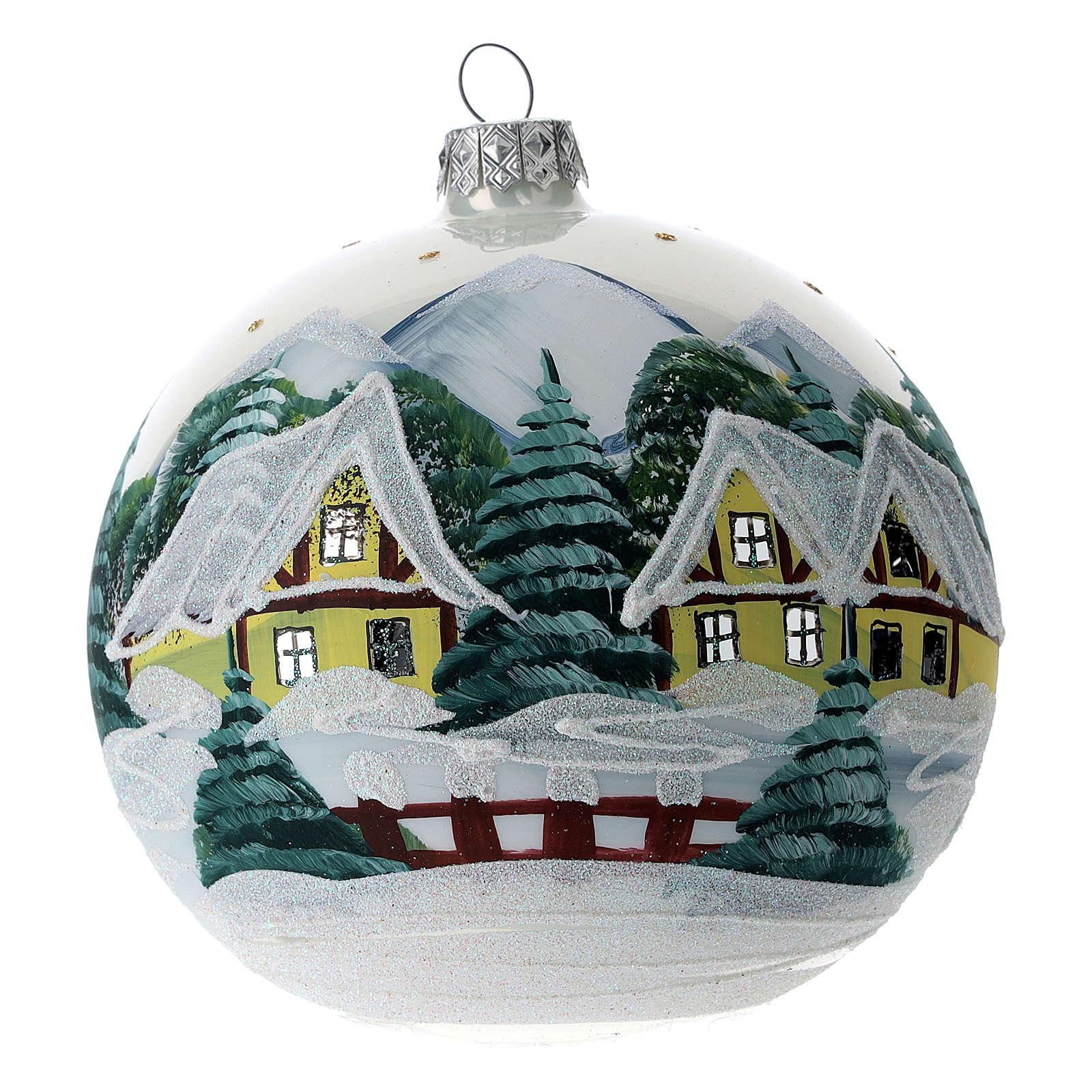 Boule sapin Noël 120 mm verre soufflé village alpin enneigé 4