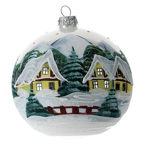 Boule sapin Noël 120 mm verre soufflé village alpin enneigé 1