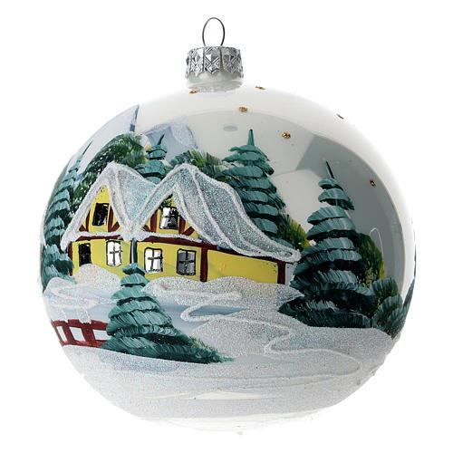 Boule sapin Noël 120 mm verre soufflé village alpin enneigé 2
