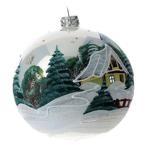 Boule sapin Noël 120 mm verre soufflé village alpin enneigé 3