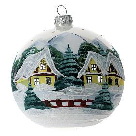 Palla albero Natale 120 mm vetro soffiato villaggio alpino innevato s1