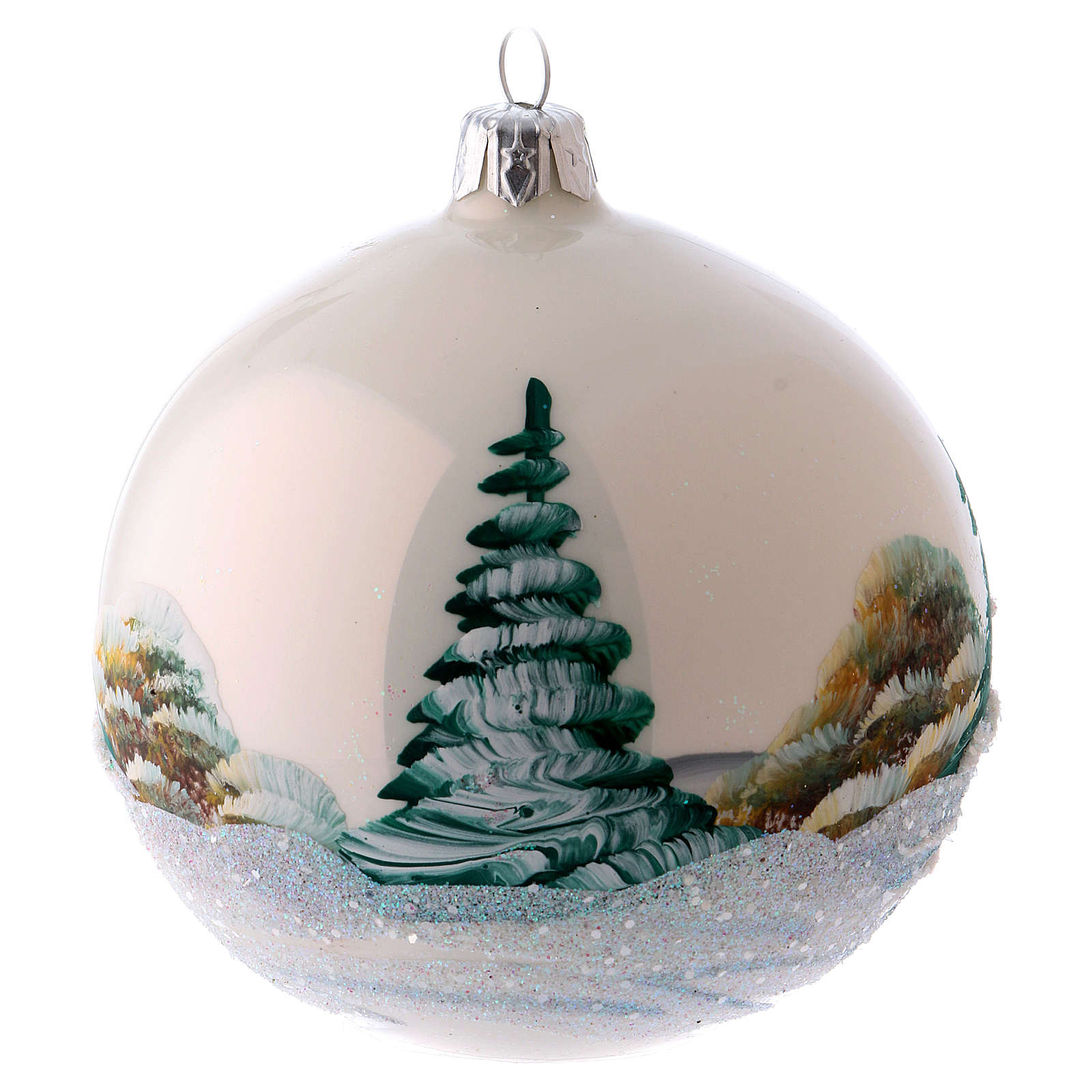 blown glass ball christmas ornament with snowy mountains 8 cm 4