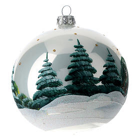Blown glass ball Christmas ornament with snowy mountains 12 cm s4