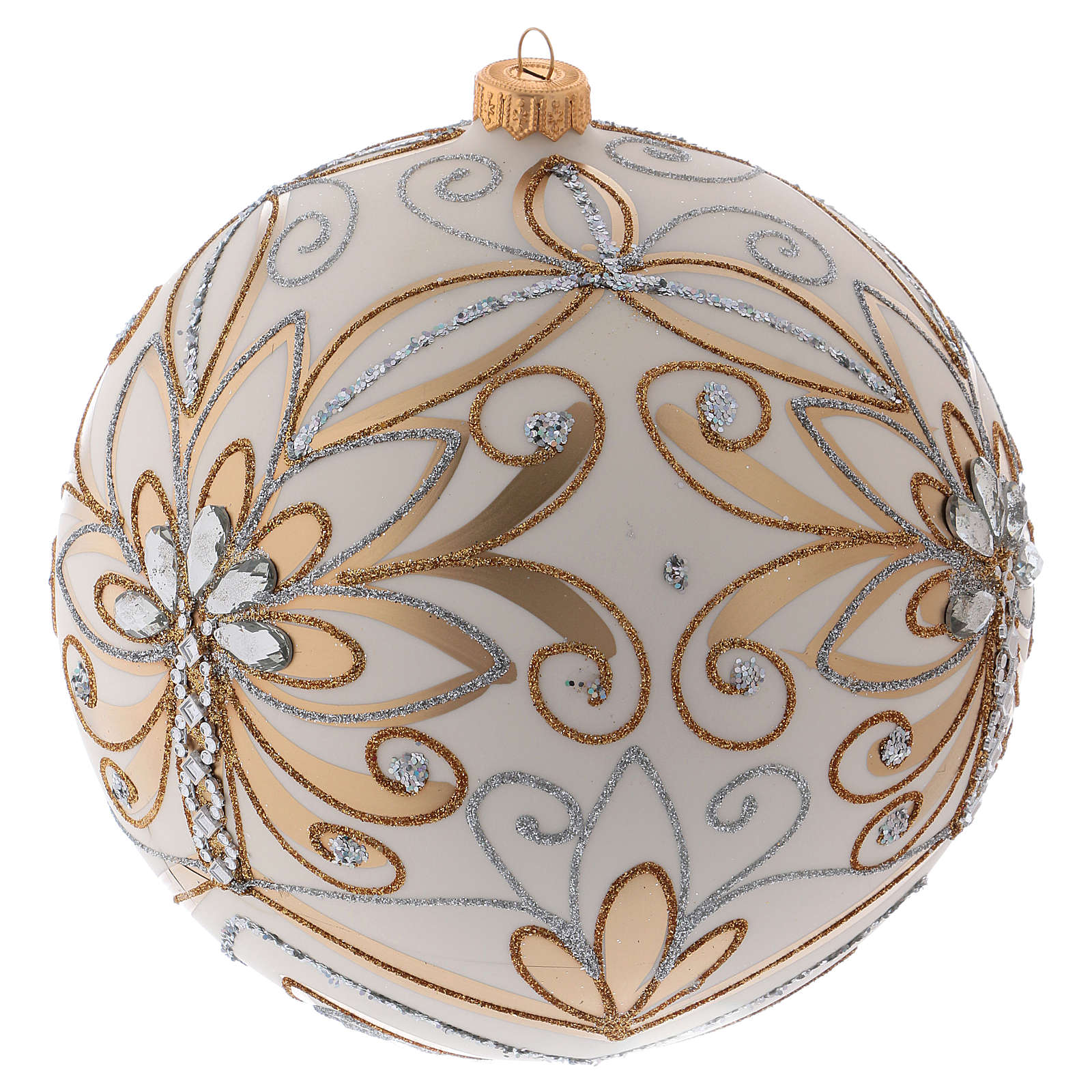 Christmas ball in blown glass 200 mm, cream coloured with golden and silver decoration 4