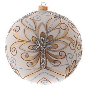 Christmas ball in blown glass 200 mm, cream coloured with golden and silver decoration s1
