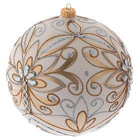 Christmas ball in blown glass 200 mm, cream coloured with golden and silver decoration s2