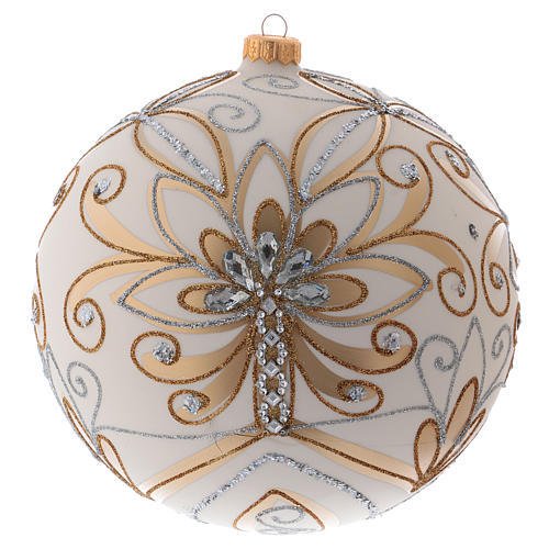 Christmas ball in blown glass 200 mm, cream coloured with golden and silver decoration 1