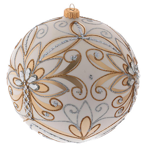 Christmas ball in blown glass 200 mm, cream coloured with golden and silver decoration 2