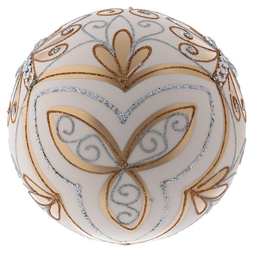 Christmas ball in blown glass 200 mm, cream coloured with golden and silver decoration 3