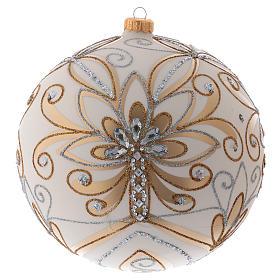 Boule de Noël 200 mm couleur crème décorations or argent verre soufflé s1