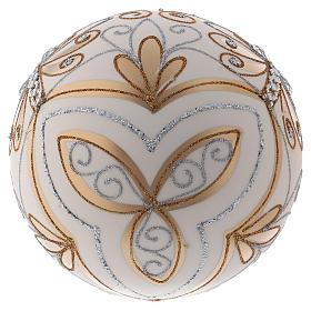 Boule de Noël 200 mm couleur crème décorations or argent verre soufflé s3