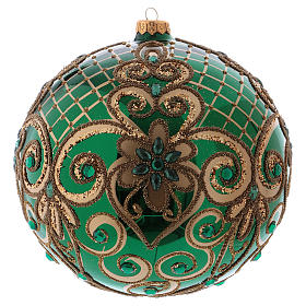 Christmas ball in blown glass 200 mm, green with golden flower decoration s1