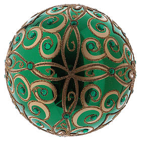 Christmas ball in blown glass 200 mm, green with golden flower decoration s3